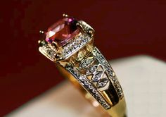 Curations NYC's Cushion-Cut Rubellite & Premium Diamond Ring, All in 14K Gold