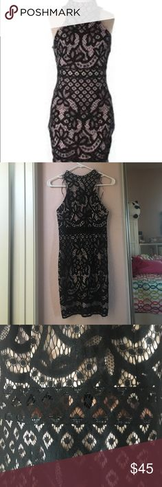 LF LBD Black lace Rumor Boutique Dress, NWOT  high collar, pink/nude lining, perfect for a night out 💗 LF Dresses Mini
