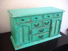 Large Vintage Teal Wooden Jewelry Box (one Of A Kind)