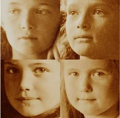 Close up of the Four Grand Duchesses of Imperial Russia, Olga, Tatiana, Marie, and Anastasia, daughters of Tsar Nicolas II, last Tsar of Russia.