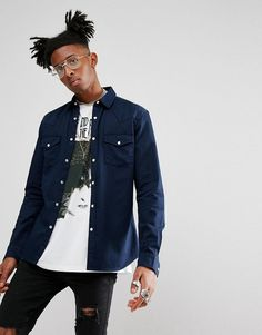 ASOS Skinny Denim Western Shirt In Navy - Navy