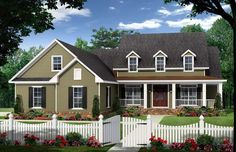 House Plan 59222 | Country   Farmhouse  Traditional    Plan with 2255 Sq. Ft., 4 Bedrooms, 3 Bathrooms, 2 Car Garage