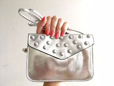 Silver Small Metallic Stud Clutch Crossbody Bag Phone Wallet #Other #Clutch