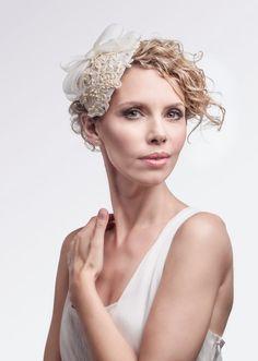 Ivory Handmade Headpiece Fascinator - Pin Up Wedding - 1950's Bridal Custom Made Wedding Accessory - Vintage Weddings - Elegant Cream