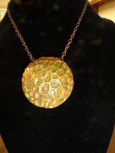 Mosaic Bronze Lentil Bead Necklace by JemsbyJackieS on Etsy