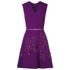 Elie Saab Embellished V-Neck Dress ($5,030) ❤ liked on Polyvore featuring dresses, purple cocktail dress, purple sequin dress, sequin party dresses, fit & flare dress and sparkly dresses
