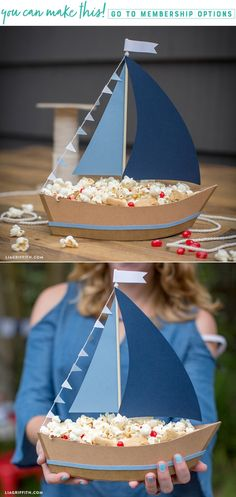 Set Sail With Snacks! ❤️⚓️ Anyone can make this DIY sailboat, giving you the perfect piece to weigh anchor in the middle of the kid's table! Heave-ho on this impressive craft here https://liagriffith.com/diy-paper-sailboat-centerpiece/ * * * #boat #boats #snack #snacks #party #kidsparty #sail #sailboat #diy #diyidea #diyideas #diyproject #diyprojects #diyinspiration #diycraft #diycrafts #paper #papercut #papercraft #papercrafts #fourthofjuly #independenceday #madewithlia #paperlove #paperart
