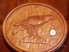 American Eagle Wood Carved Desk Clock Made by TheWoodGrainGallery, $139.00
