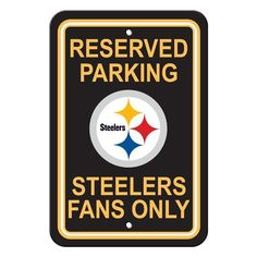 Show your team spirit proudly with this X Parking Sign. Each x parking sign is made of durable styrene. The officially licensed parking sign is decorated in the team colors, great for decorating home, office or dorm. Pittsburgh Steelers Schedule, Pittsburgh Steelers Wallpaper, Pittsburgh Sports, Steelers Sign, Steelers Gear, Pitt Steelers, Steelers Fans, Steelers Tattoos, Reserved Parking Signs
