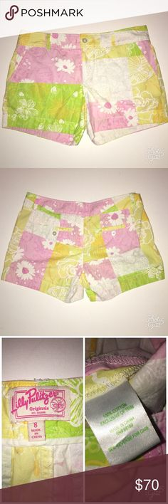 """Lilly Pulitzer """"the originals"""" Callahan shorts Lilly Pulitzer """"the originals"""" Callahan shorts, has a patchwork design with flowers and raccoons!!!! So cute! Rare print. Excellent condition, Size 8, 100% cotton Lilly Pulitzer Shorts"""