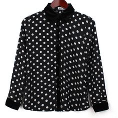 White Dot Fashion Women's Long Sleeve Polka Dot Print Top Shirt Blouse ($21) ❤ liked on Polyvore