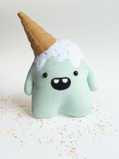 Whoops the clumsy but cute mint plush monster by CreepyandCute on Etsy