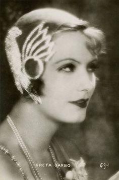 Greta Garbo in a lovely hat.