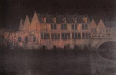 Night in Bruges by Belgian symbolist William Degouve de Nuncques Nocturne, European History, Art History, Bruges, Moonlight Painting, Art Society, Sun And Stars, Belle Epoque, Night Skies
