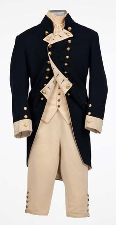 Military dress coat, gold buttons, buttoned open and flared at the collar and bottom of the waist.