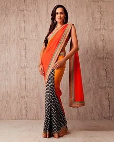 Multi-colored #sari with golden border. To buy this, simply click http://weddingshop.bigindianwedding.com/whats-new/biw00000700.html#