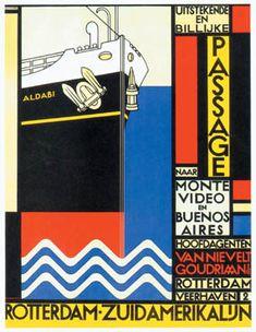 Date unknown - Leck, Bart van der - Affiche Rotterdam-ZuidAmerikalijn Mondrian, Bauhaus, Design Poster, Book Design, Style International, Graphic Prints, Poster Prints, Posters, Design Movements