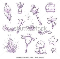 Set of fairy princess belongings, objects, icons, with magic wand, crystal, mirror, feathers, mushroom, chest, butterfly, star. Hand drawn vector cartoon doodle illustration - stock vector