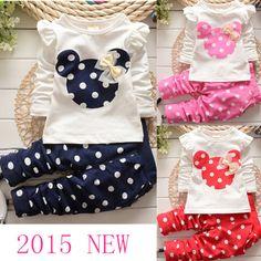 2016 новая мода Весна Осень новорожденных девочек комплект одежды  Спортивный костюм установить с длинным рукавом дети рубашка + брюки одежда  наборы дети 2 ... 507fd39a285fd