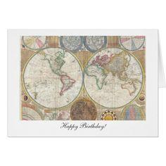 Cumpleaños del mapa de Viejo Mundo feliz a partir Tarjeta De Felicitación