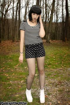 Polka dots and stripes outfit, stripe top, polka dot shorts, white spiked boots, spiked headband, fishnet hose, black bob, punk outfit