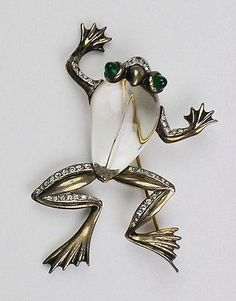 Rare TRIFARI Crown Sterling Jelly Belly FROG Brooch  ALFRED PHILIPPE  NR