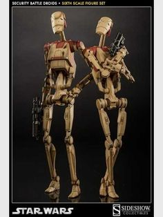toys-games: Sideshow Star Wars Security Battle Droids Scale Figures Brand New - Sideshow Star Wars Security Battle Droids Scale Figures Brand New. Star Wars Film, Star Wars Comics, Star Wars Droids, Star Wars Clone Wars, Star Wars Art, Star Trek, Dc Comics, Sideshow Star Wars, Battle Droid