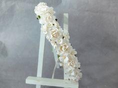 White flowers crown white flowers headpiece wedding by musefleur
