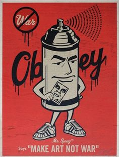 Check out this insanely cool print done by Shepard Fairey for Obey, that spray paint guy is so cool looking! Shepard Fairey Prints, Shepard Fairey Obey, Trauma, Shepard Fairy, Pop Art, Institute Of Contemporary Art, Skateboard Design, Art Walk, Street Art