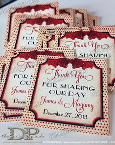 Vintage 50's Style Pin-Up Wedding Favor Tags in Ivory and Red from dolcepapel.com