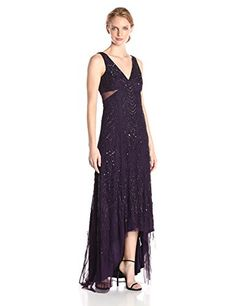 Adrianna Papell Womens Sleeveless VNeck Long Beaded Gown Amethyst 4 ** To view further for this item, visit the image link.