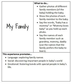 At play with baby: My Family Infant Lesson Plans, Preschool Lesson Plans, Preschool Curriculum, Preschool Activities, Toddler Classroom, Toddler Preschool, Toddler Art, Infant Toddler, Teaching Babies