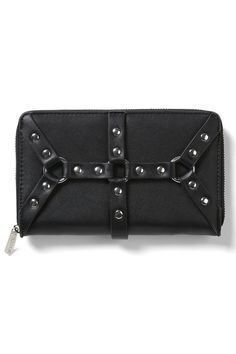 Hexellent Wallet [B]   KILLSTAR. 'Hexellent' stylish wallet in a luxe vegan leather body multi compartments and zip closure - fit all yer cash, stash, cards and spells - with no effort at all. Classical shape to fit yer busy-on-the-move-life & must-haves when you leave the crypt; think of a compartment and ya bet we got it covered.
