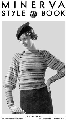 vintage 30s knitted Sweater and Crochet Hat PDF by KissproofGirly