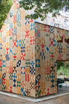 patterned wood treehouse