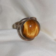 Sterling Ring with Tigers Eye Cabochon - size 7.75 from musibows on Ruby Lane