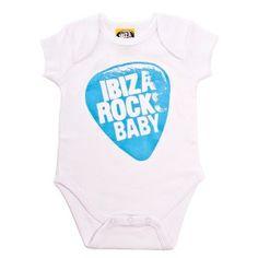 Ibiza Rocks Baby Clothes - Plectrum Baby Grow - White & Blue http://www.lostinsummer.com/en/baby/563-ibiza-rocks-plectrum-baby-grow.html