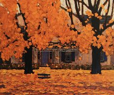 Lawren Harris House in Autumn. The autumns of my childhood in Eastern Canada, brilliant maple leaves.