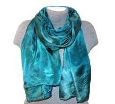Green silk scarf Hand painted scarf Hand dyed silk scarf Head