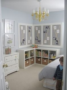 all of it - cork boards covered in fabric / shelving under / plain art frames to show off the girl's art work