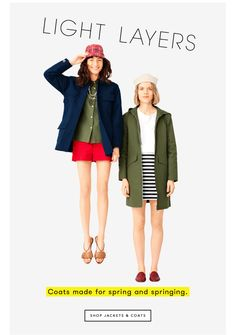 shop jackets and coats. gif!  I like the idea of jumping into and out of frame with different color ways