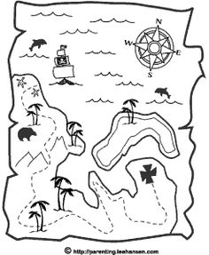Pirates Coloring Pages Pirate Crafts --- good link Treasure Maps For Kids, Pirate Treasure Maps, Pirate Maps, Pirate Theme, Treasure Hunting, Colorful Pictures, Map Pictures, Pirate Coloring Pages, Pirate Pictures