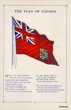 1909 The Flag of Canada Original Antique Edwardian Print to Frame Canadian Things, I Am Canadian, Canadian History, Flags Of The World, Countries Of The World, Halifax Explosion, Historia Universal, Canada 150, Vancouver Canucks