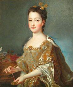 Princesse Marie-Louise Elisabeth d'Orléans (1709 - 1742), Princesse des Asturies puis Reine d'Espagne. Fille du Régent Philippe II d'Orléans et épouse du roi Louis I d'Espagne. Veuve en 1724, elle fut renvoyée en France par ses beaux-parents Philippe V d'Espagne et Elisabeth de Parme.