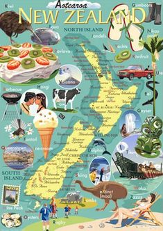 New Zealand Icons - Countour Creative Studio. New Zealand Art, New Zealand Travel, Creative Studio, Glenn Jones, Waitangi Day, Nz Art, Kiwiana, All Things New, Destination Voyage