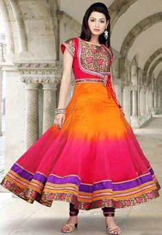 orange-and-pink-net-readymade-anarkali-churidar-kameez