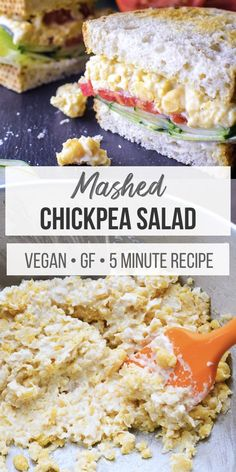 Mashed chickpea salad is the perfect 5 ingredient spread for sandwiches wraps and crackers! Quick Vegan Meals, Vegan Meal Prep, Vegan Dinners, Vegan Recipes Easy, Vegetarian Recipes, Healthy Salad Recipes, Veggie Recipes, Lunch Recipes, Beef Recipes
