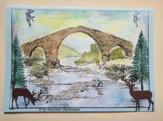 Eine gestempelte Gruß-und Glückwunschkarte mit einer Landschaft Moose Art, Painting, Animals, Stamping, Landscape, Crafting, Animales, Animaux, Painting Art