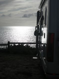 Campsite near Granville in France - spot right in front of the beach watching sun go down - bliss!