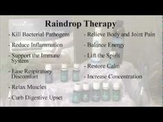 Part 1:  Raindrop Therapy is a method of application of specific Essential Oils to both the feet and the back.  The oils are applied in a sequence to the feet then to drop on the back then lightly brushed with amazing results.  This video part 1 and 2 demonstrates the reasons and desired results and the application method. The purpose is to aid ...